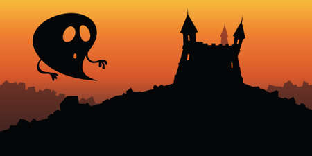 A cartoon silhouette of a ghost by a spooky castle.