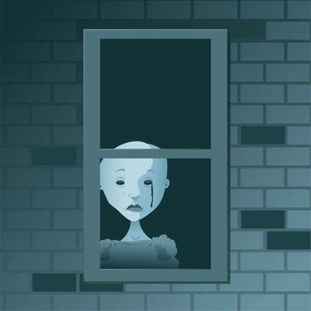 ghostly: A ghostly, cartoon figure shed a dark tear at a window.