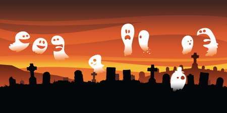 socialize: A group of cartoon ghosts gather and socialize in a spooky graveyard.  Stock Photo