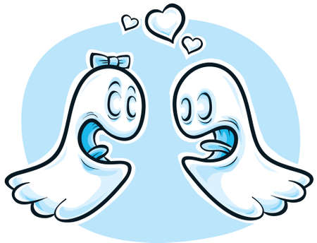 Two cute, cartoon ghosts in love. photo