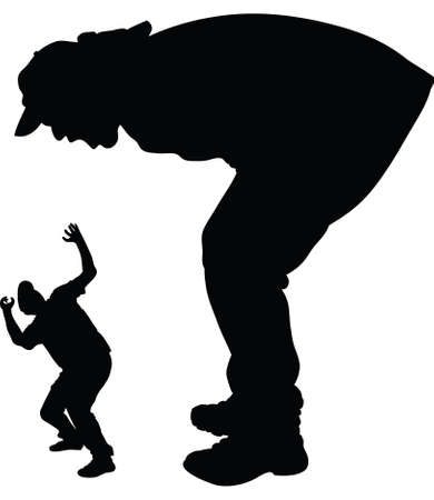 scaring: A silhouette of a giant man shouting and scaring a smaller man. Stock Photo