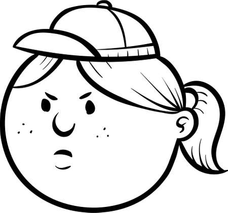 lineart: Cartoon lineart of a serious girl  Stock Photo