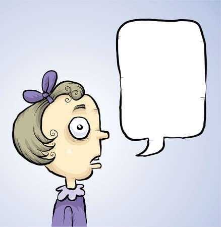 Ein Cartoon-Mädchen sprechen mit einer leeren Sprechblase Standard-Bild - 29521205