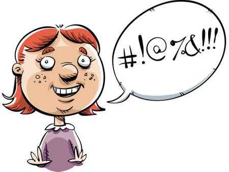 swear: A cartoon little girl, swearing like a sailor  Stock Photo