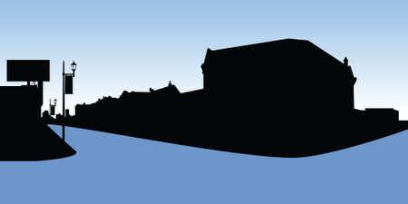 main street: Skyline silhouette of the village of Glencoe, Ontario, Canada