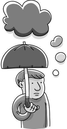 gloom: A cartoon man with an umbrella to protect him from his gloom cloud