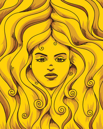 Illustration of a cartoon golden woman  版權商用圖片