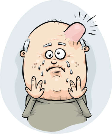 swollen: A cartoon man with a painful, swollen bump on his head