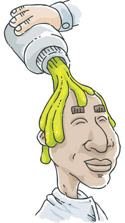 slime: Cartoon green goo being poured over the bald head of a man