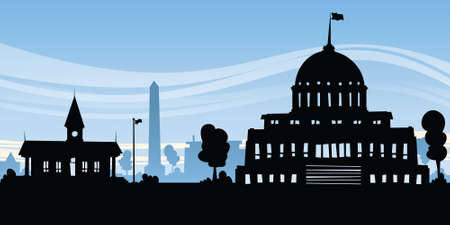 Cartoon silhouette of government buildings in a capital city