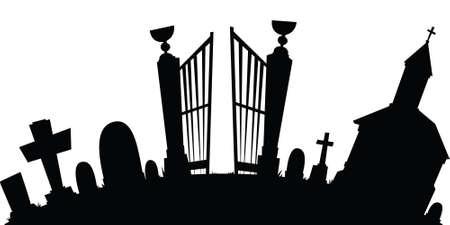 Cartoon silhouette of a spooky graveyard
