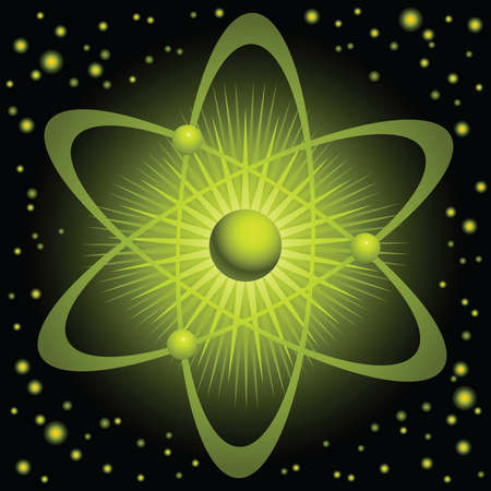 gravitational field: Illustration of a green atom with orbiting electrons  Stock Photo