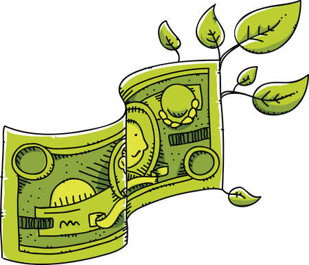 A bill of cartoon money sprouts leaves, being used to help the environment