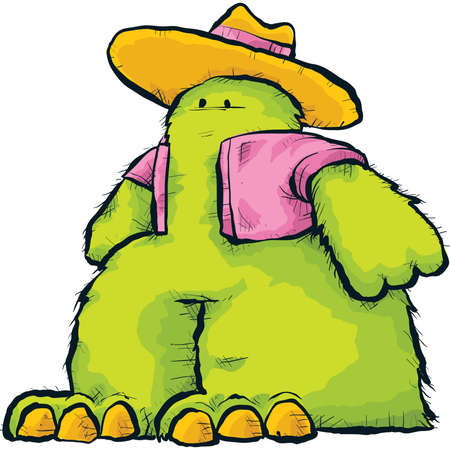 jazzy: A funky green cartoon fuzz monster in cool retro clothes  Stock Photo