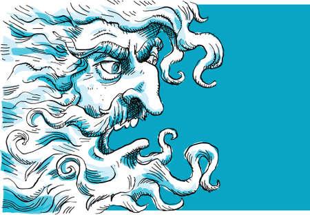 almighty: An angry cartoon god Stock Photo