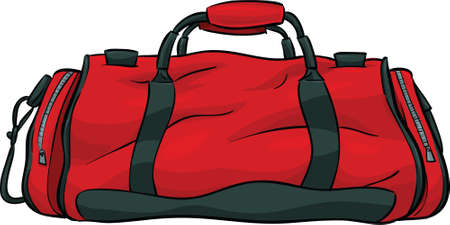 A red, cartoon gym bag