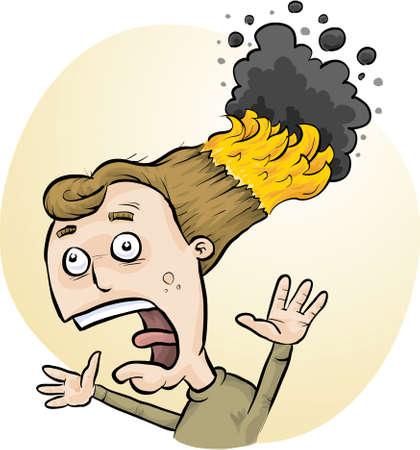 A cartoon man with his hair on fire
