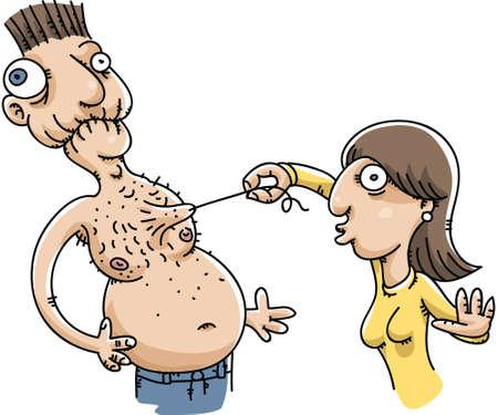 grimace: A cartoon woman plucks a hair from a man