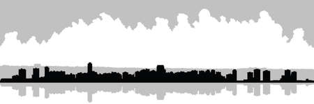ontario: Skyline silhouette of the city of Hamilton, Ontario, Canada  Stock Photo