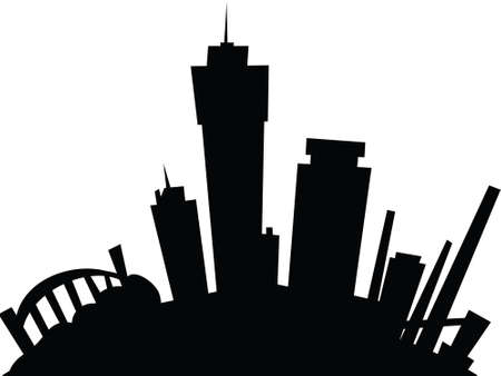 ontario: Cartoon skyline silhouette of the city of Hamilton, Ontario, Canada
