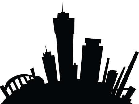 hamilton: Cartoon skyline silhouette of the city of Hamilton, Ontario, Canada