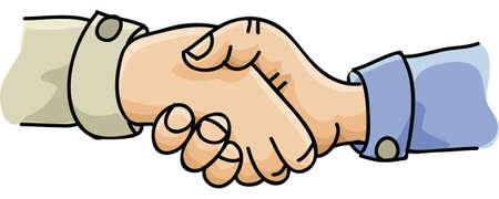 Twee cartoon handen greep in een stevige handdruk Stockfoto