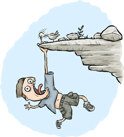 A cartoon young man hangs from a rock ledge while a small bird pecks his hand