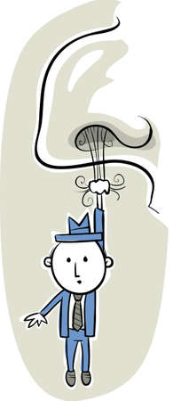 hangs: A tiny,cartoon businessman hangs from a the hair of a big nose