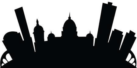 Cartoon skyline silhouette of the city of Harrisburg, Pennsylvania, USA