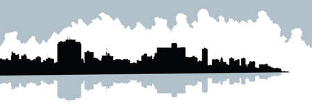 havana: Skyline silhouette of the city of Havana, Cuba