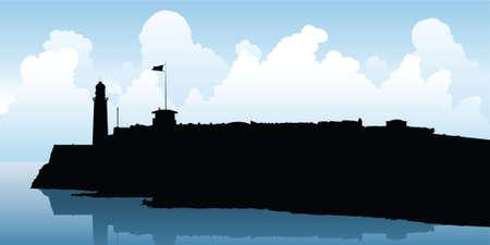 havana: Skyline silhouette of the lighthouse at Havana, Cuba