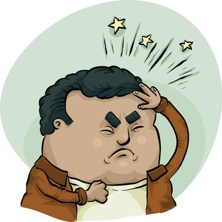 A cartoon man suffering from a painful headache