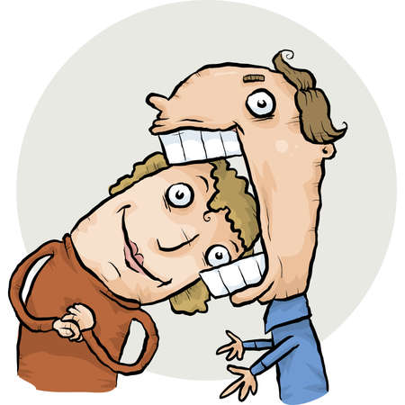 woman mouth open: A cartoon woman able to fit her head in a mans mouth.