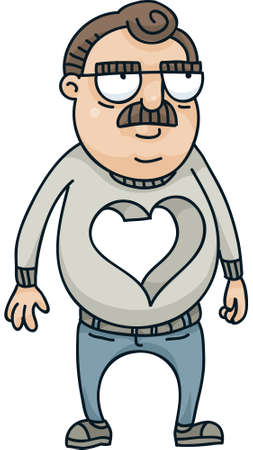 grouchy: A cartoon man with a large hole where his heart should be. Stock Photo