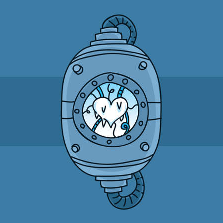 chamber: A cartoon heart preserved in a freezing chamber.