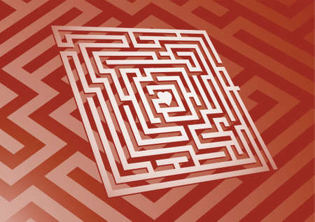 A maze leading to a heart in the center. photo
