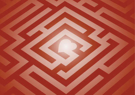 romance strategies: A maze leading to a heart in the center. Stock Photo