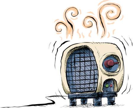 A cartoon space heater warming the air around it.