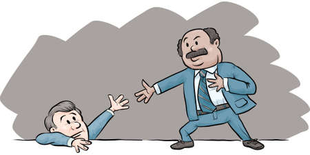 A cartoon businessman offers another man a helping hand.