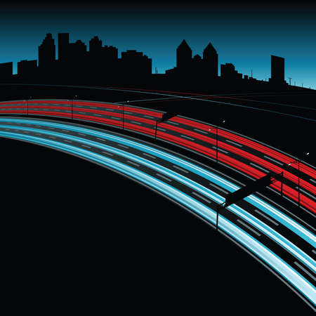 Illustration of a highway at night showing streams of lights.