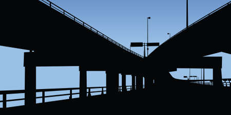 hamilton: A highway running under overpasses on a raised highway  Stock Photo