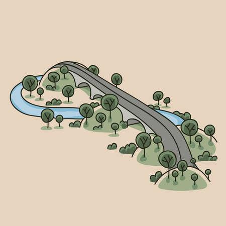 A cartoon highway bridge runs over hills and a river