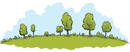 A lush, green cartoon hill landscape on a bright day