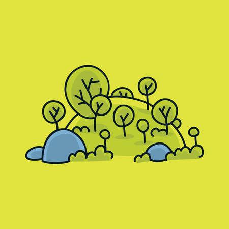 A fresh, green cartoon hill with boulders  Reklamní fotografie