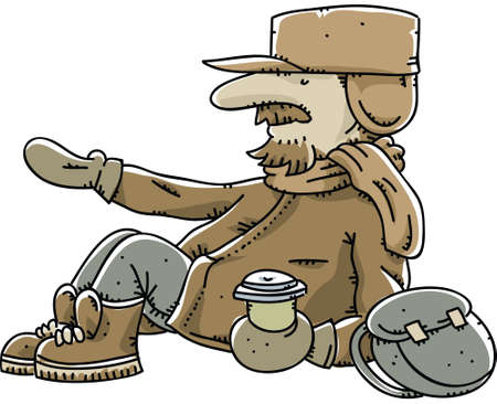 A cartoon homeless man begging for spare change.