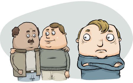 reacts: A cartoon homophobic man reacts to a gay couple. Stock Photo