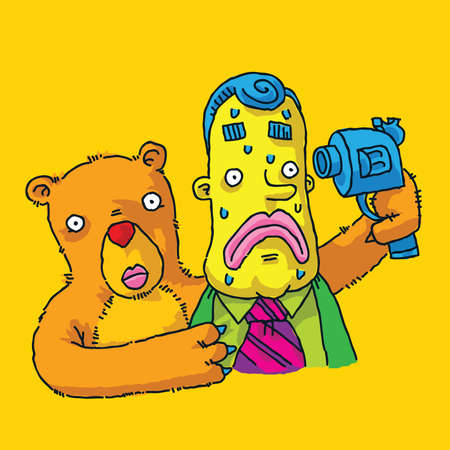hostage: A cartoon bear holding a man hostage with a gun to his head.