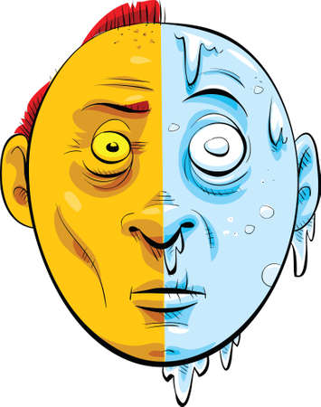 ホット半分、半分の寒さは、漫画の顔。