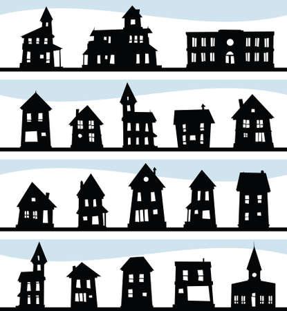 A set of a variety of cartoon house silhouettes. Banco de Imagens