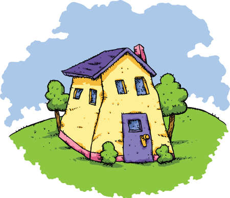 wobbly: A cartoon house in a wavy style. Stock Photo